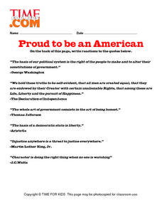Proud To Be An American Lesson Plan