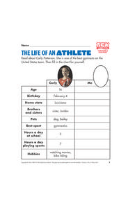 The Life of an Athlete  (Carly Patterson) Lesson Plan