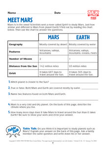 Meet Mars Lesson Plan