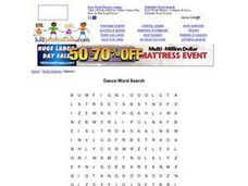 Dance: Word Search Worksheet