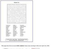 Antique Cars Word Search Puzzle Worksheet