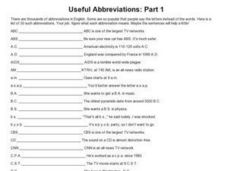 Useful Abbreviations: Part 1 Worksheet