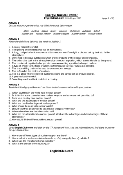 Energy: Nuclear Power Worksheet for 7th - 9th Grade | Lesson Planet