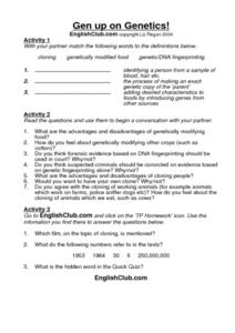 Gen Up on Genetics! Worksheet