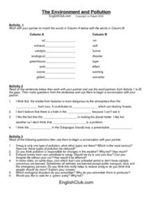 The Environment and Pollution Worksheet