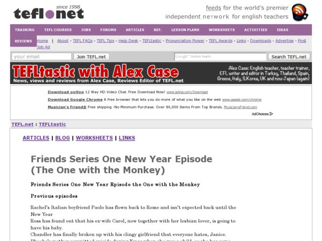 Friends Series One New Year Episode (The One with the Monkey