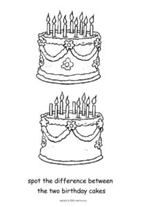 Two Birthday Cakes Worksheet