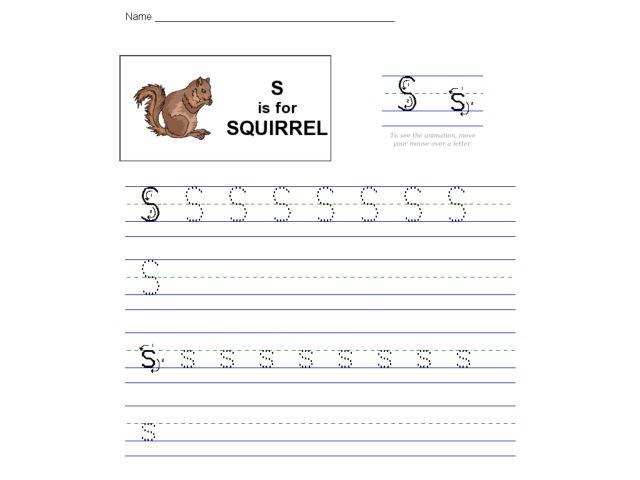 S Is For Squirrel Worksheet For Kindergarten
