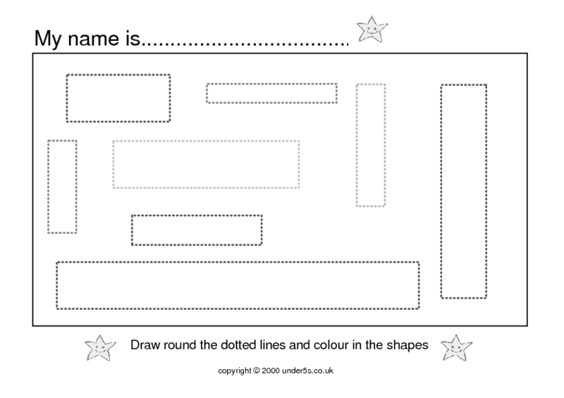 Dotted Lines And Shapes Worksheet
