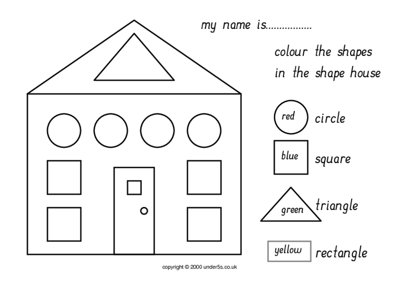 Color The Shapes In The Shape House Worksheet for 1st