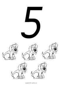 Counting to Five, Dogs Worksheet