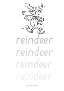 Tracing The Word Reindeer Worksheet