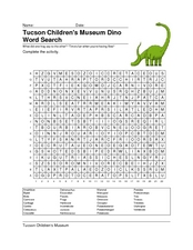 Tucson Children's Museum Dino Word Search Worksheet