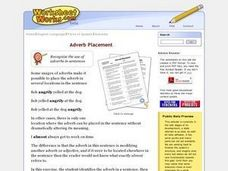 Adverb Placement Worksheet