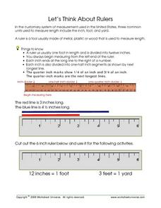 Let's Think About Rulers Worksheet