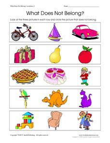 What Does Not Belong? Worksheet 4 Worksheet for Pre-K - Kindergarten ...