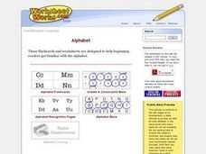 Alphabet Flashcards, Tracing, Maze, and Recognition Pages Worksheet