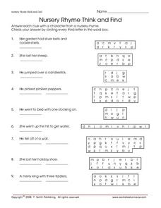 Nursery Rhyme Think and Find Worksheet