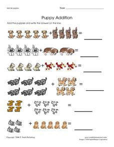 Puppy Addition Worksheet