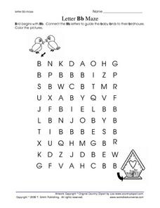 Letter Bb Maze Worksheet