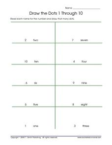 Draw the Dots 1 Through 10 - Numbers and Number Words Lesson Plan