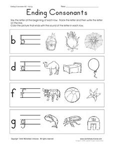 Ending Consonants- Printing and Coloring Worksheet