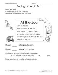 Finding Letters in Text: Zoo Worksheet