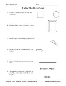 Follow the Directions Worksheet Worksheet