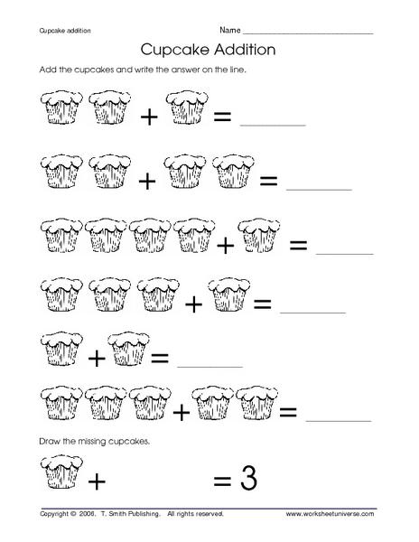 cupcake addition worksheet for pre k kindergarten. Black Bedroom Furniture Sets. Home Design Ideas
