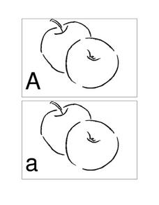 Upper and Lower Case Letter A --Apple Cards Worksheet
