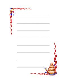Birthday Writing Paper Worksheet