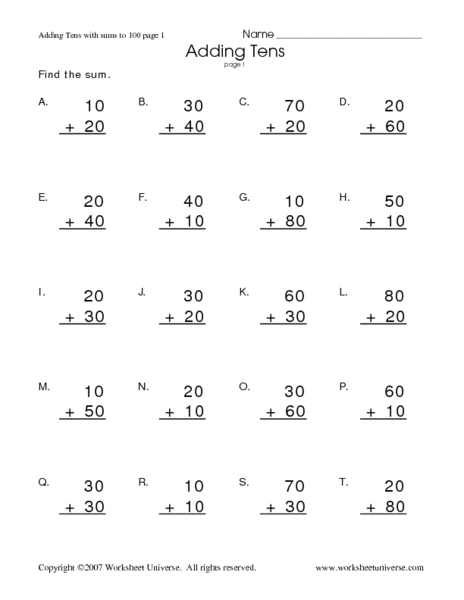 Adding Tens Lesson Plans Worksheets Reviewed By Teachers