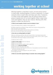 Primary Poster: Working Together at School Worksheet