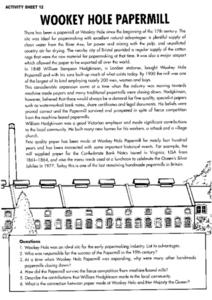 Wookey Hole Papermill- Reading Response Selection Worksheet