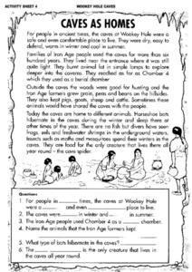 Wookey Hole Caves- Caves as Homes - Responding to a Reading Selection Worksheet