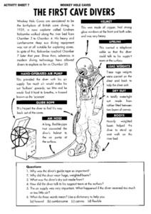 The First Cave Divers of Wookey Hole Caves Reading Response Worksheet Worksheet