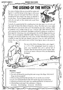 Wookey Hole Caves: The Legend of the Witch Worksheet