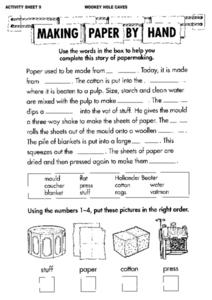 Making Paper by Hand Worksheet