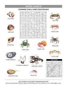 Common Shells and Crustaceans Worksheet