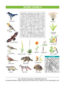 Plants and Animals Word Search Worksheet