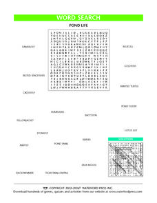 Pond Life Word Search Worksheet Lesson Plan