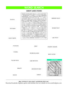 Great Lakes Fishes Word Search Lesson Plan