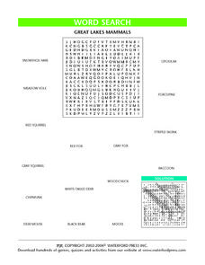 Great Lakes Mammals Word Search Worksheet Lesson Plan