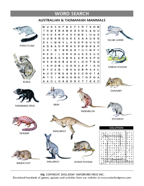 Australian and Tasmanian Mammals Lesson Plan