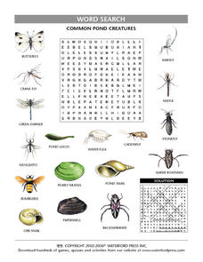 Common Pond Creatures Word Search Worksheet