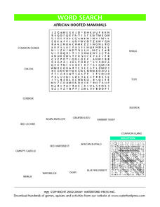 Word Search: African Hoofed Mammals Lesson Plan