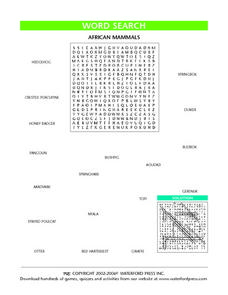 Word Search:  African Mammals Lesson Plan