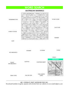 Australian Mammals Word Search Lesson Plan