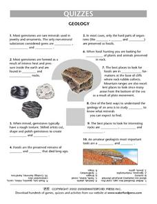 Geology- Gemstones, Fossils and Rocks Quiz Lesson Plan