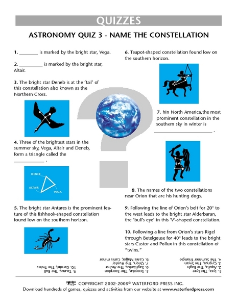 Quiz: Name the Constellation 3rd Grade Lesson Plan | Lesson Planet
